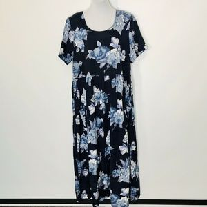 Coldwater Creek Maxi Dress L Pockets Blue Floral